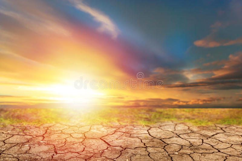 Blue sky before sunset and dry soil royalty free stock photo