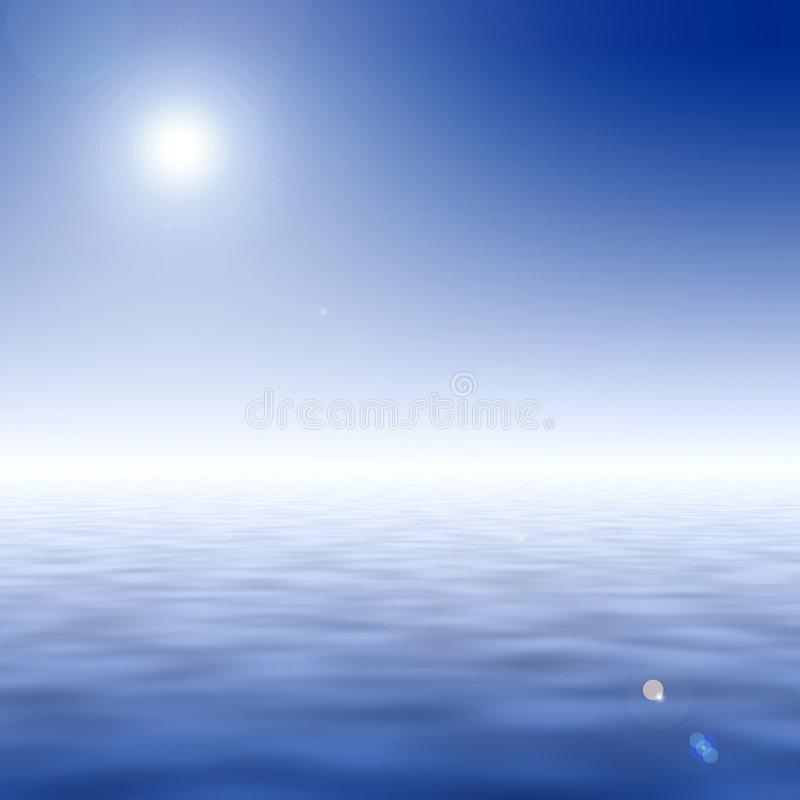 Blue sky water illustration stock illustration