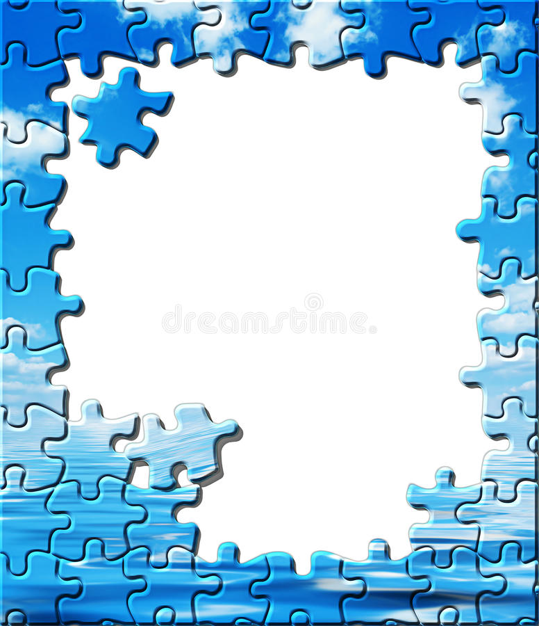 Blue Sky With Water Reflection, Puzzle Border Stock Photos