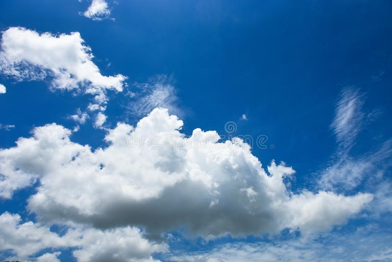 Blue sky white cloud white background. Beautiful sky and clouds in the afternoon royalty free stock photography
