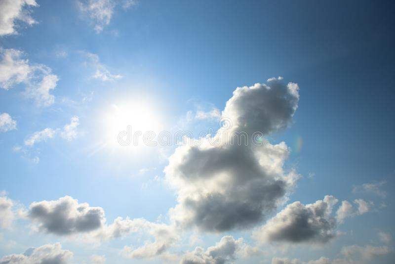 Blue sky white cloud white background. Beautiful sky and clouds in the afternoon royalty free stock images