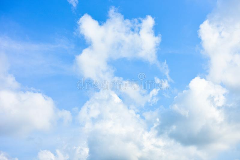 Blue sky white cloud white background. Beautiful sky and clouds in the afternoon royalty free stock photo