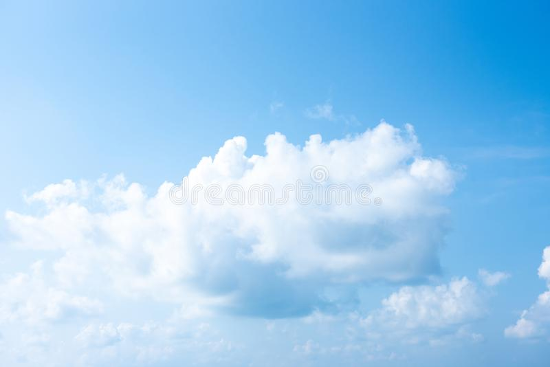 Blue sky white cloud white background. Beautiful sky and clouds in the afternoon stock images