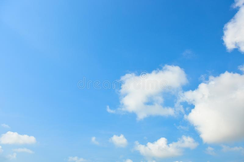 Blue sky white cloud white background. Beautiful sky and clouds in the afternoon stock photography