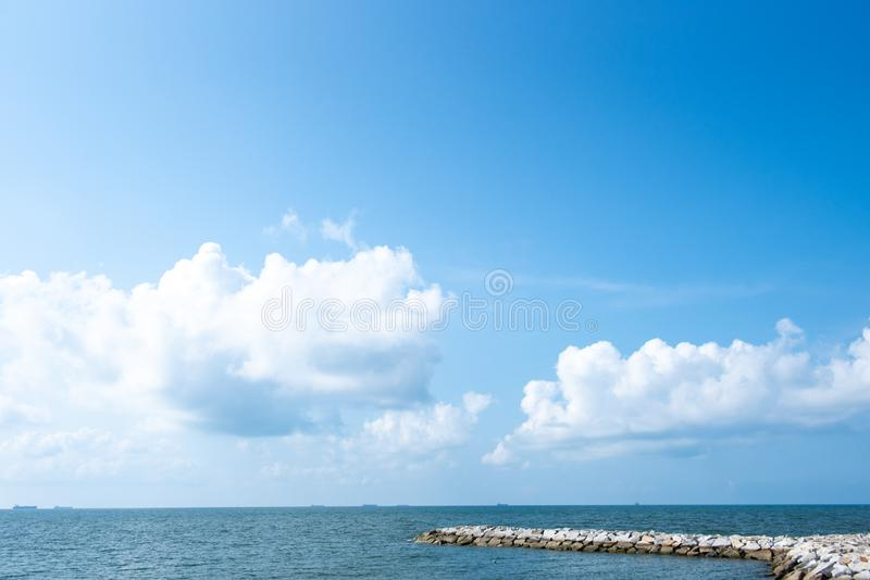 Blue sky white cloud white background. Beautiful sky and clouds in the afternoon stock photo