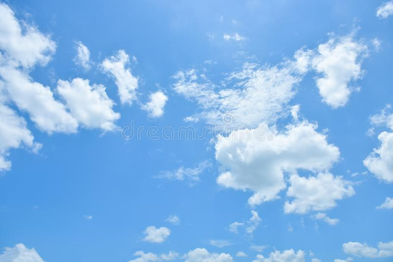 Blue sky white cloud white background. Beautiful sky and clouds in the afternoon royalty free stock photos