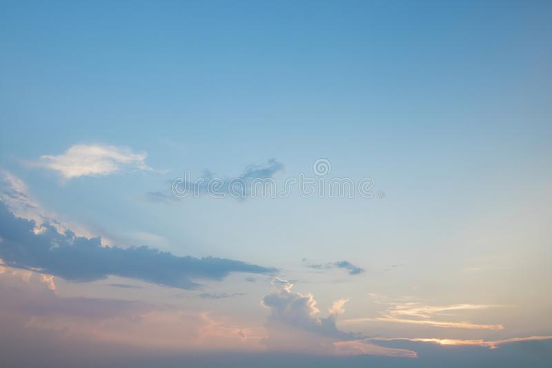 Blue sky and white cloud in evening royalty free stock images