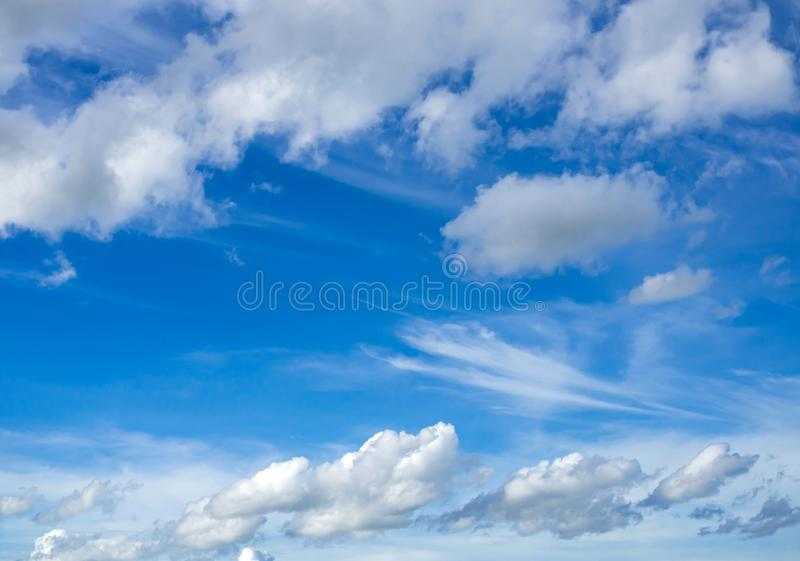 Blue sky with white cloud natural background stock image