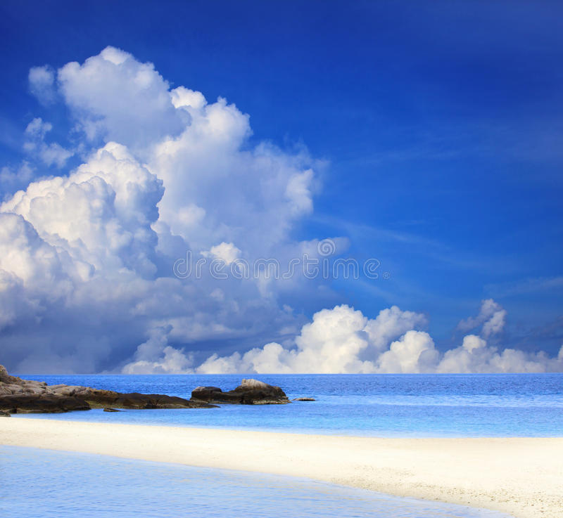 Download Blue Sky White Cloud And Sand Beach Stock Photo - Image: 26781582