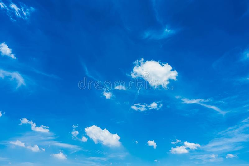 Blue sky and white cloud in sunny for background stock photo