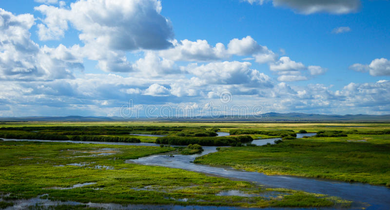 The blue sky white cloud of wetlands royalty free stock photography