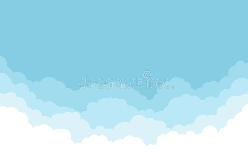 Blue sky with white clouds background. Cartoon flat style design. Vector illustration.  royalty free illustration