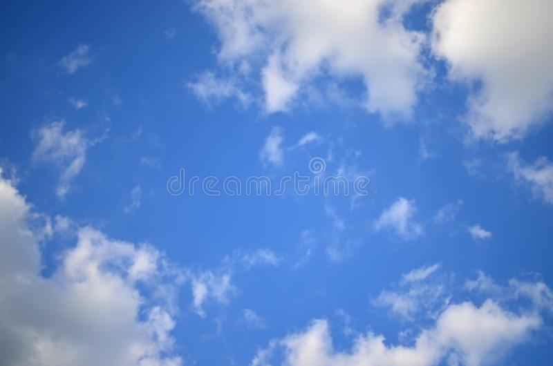 Blue sky with white clouds. Sky texture/ background. Nature patern stock image