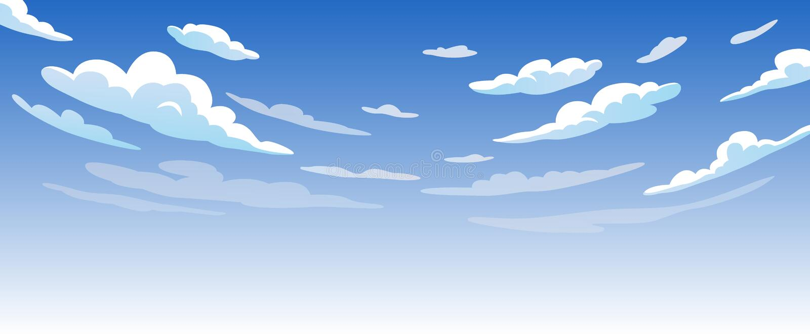 Blue Sky With White Clouds Clear Sunny Day stock illustration