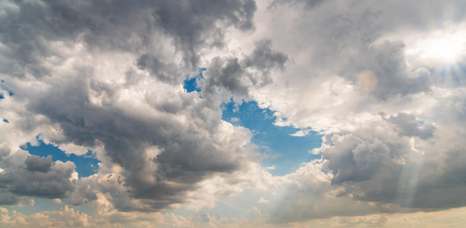 Blue sky and white clouds on day time. Storm clouds. For background usage stock photos