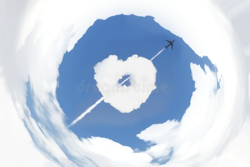 Blue sky and white clouds with distort coordinate filter. stock photography