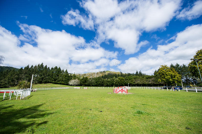 Blue sky and white clouds grass. Rolling green hills and a blue sky New Zealand's beautiful ranch royalty free stock photography