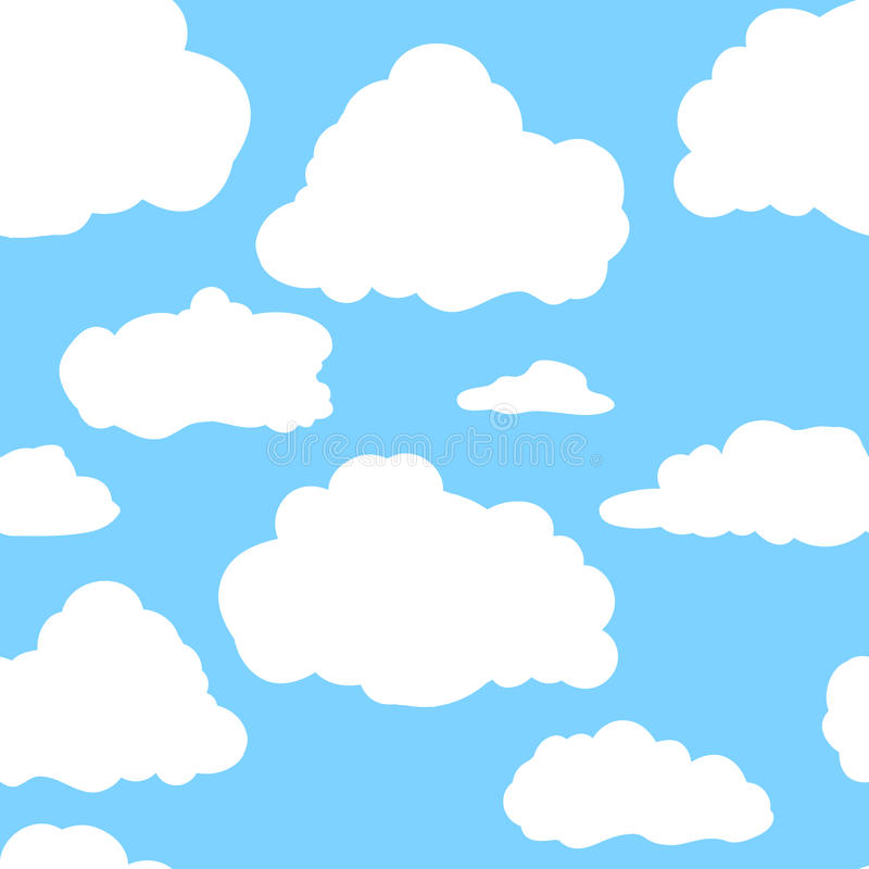 Blue sky with white clouds. Hand drawn seamless pattern. Vector illustration in cartoon style stock photo