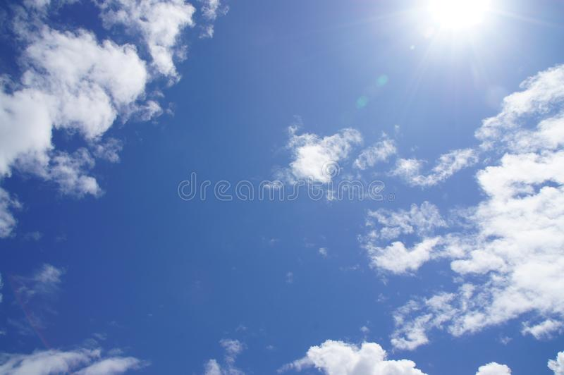 Blue sky, white clouds, natural beautiful, transparent, refreshing, see the sun shining stock images