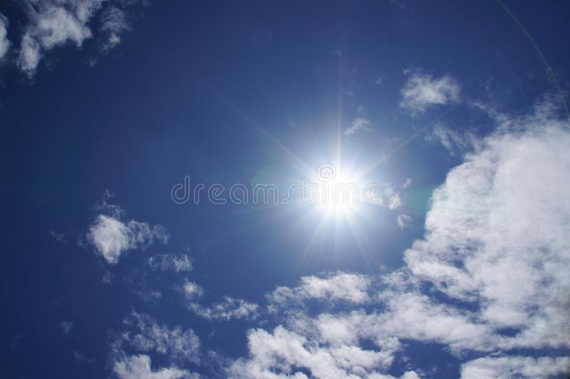 Blue sky, white clouds, natural beautiful, transparent, refreshing, see the sun shining. Background image stock image
