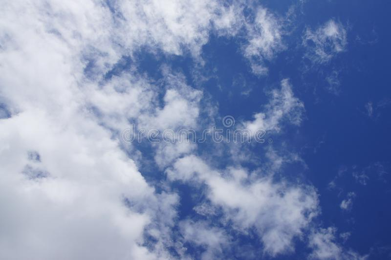 Blue sky, white clouds, natural beautiful, transparent, refreshing, see the sun shining. Background image stock images