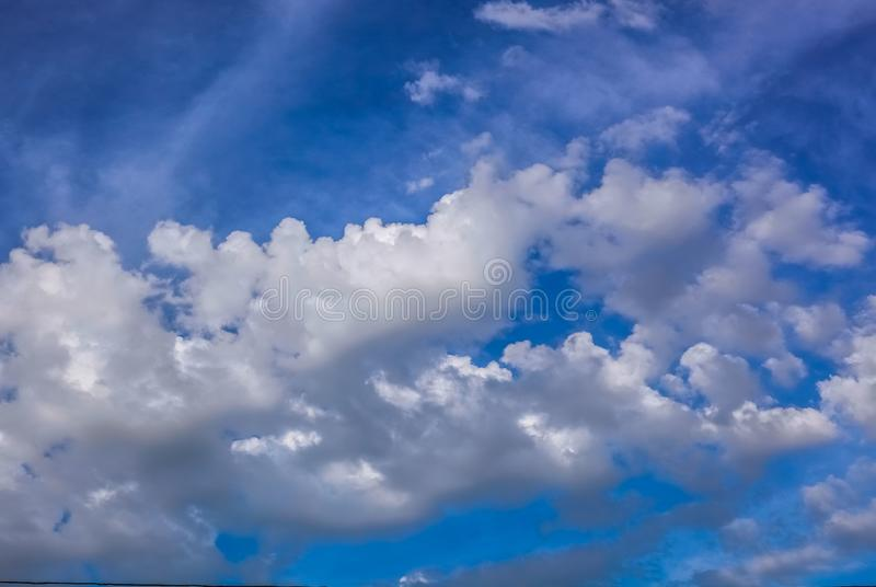 Blue sky white clouds nice weather royalty free stock photos