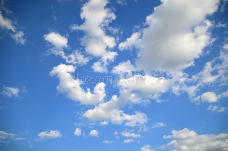 Blue sky with white clouds. Sky texture/ background. Nature patern stock images