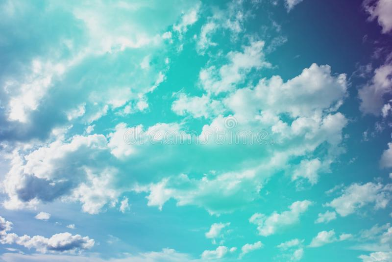 Pastel Blue sky and white cloudy background ,sky clouds scape in countryside landscape of Thailand,fresh and relax stock image