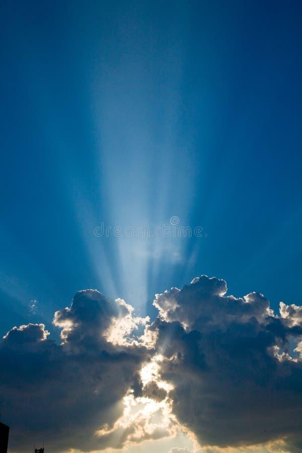 Blue skys clouds sunbeams #1 stock image