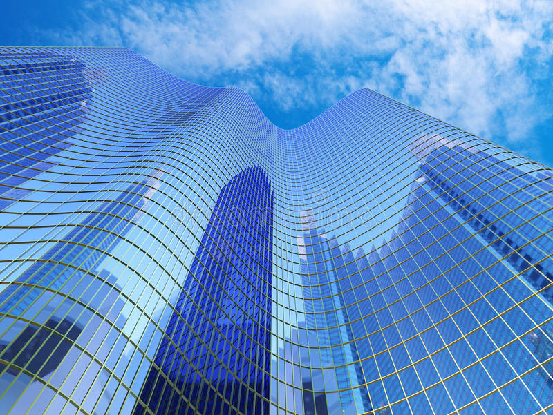 Blue Skyscraper royalty free illustration