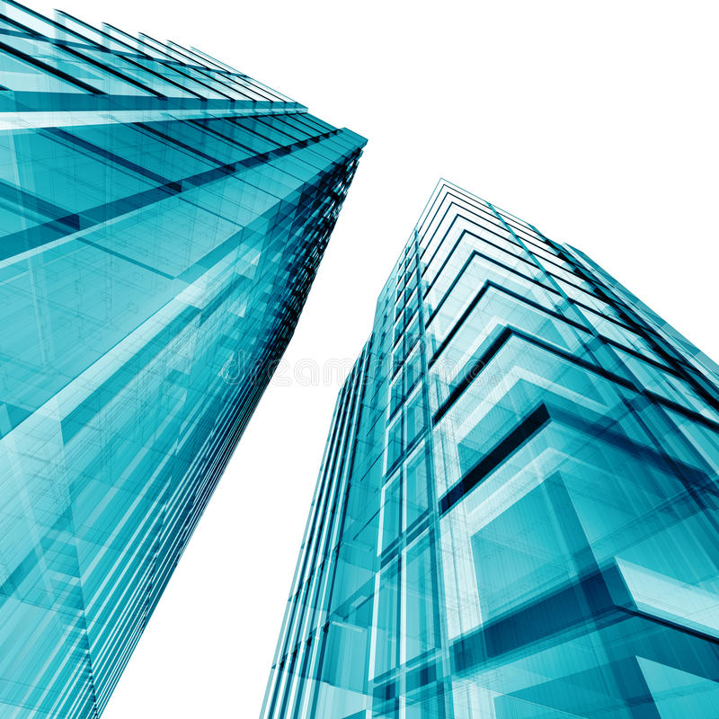 Blue skyscrapers stock images