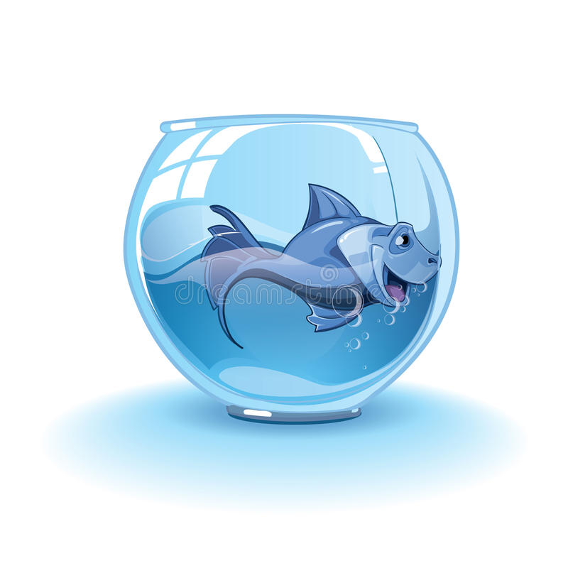 Download Blue small fish stock vector. Image of caged, liquid - 56104261