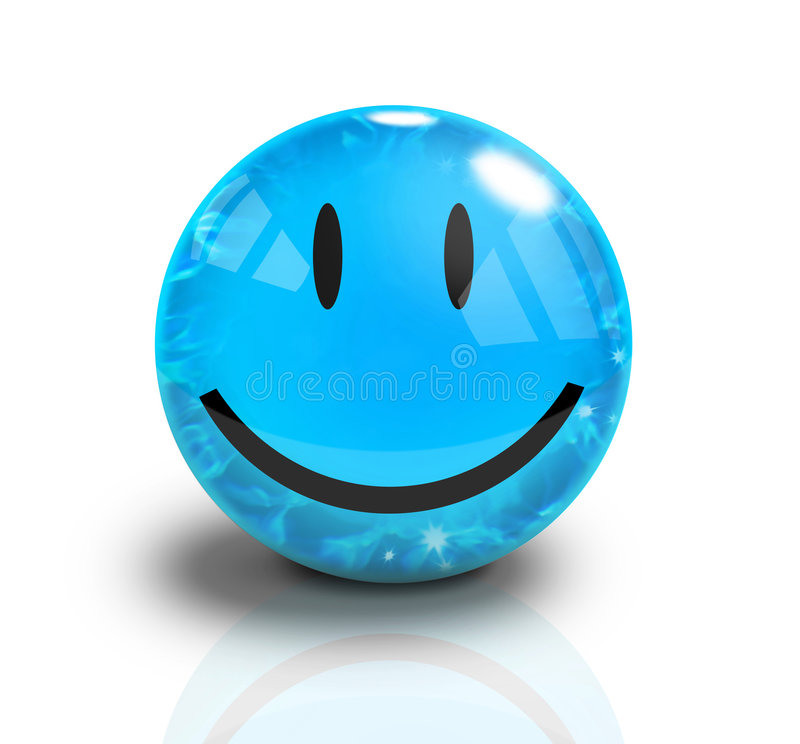 Blue Smiley 3D Happy Face stock photography