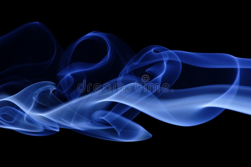 Blue Smoke 5. Abstract curves of blue smoke on a black background stock images