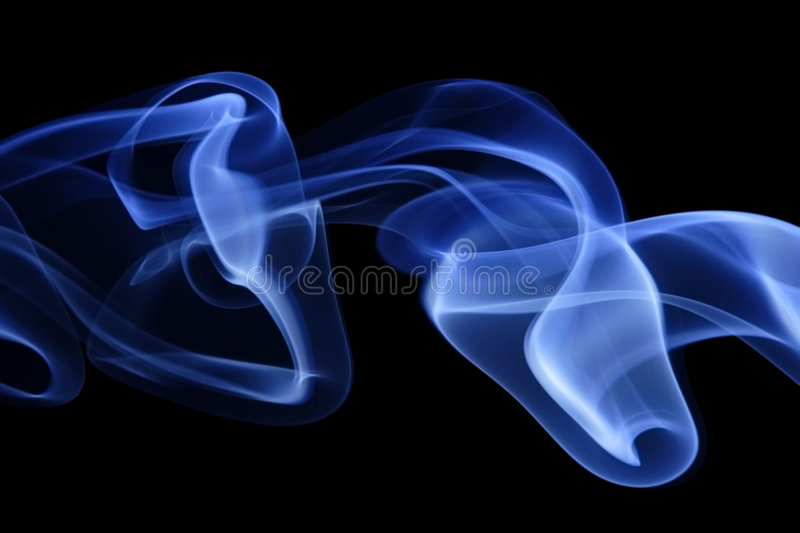 Blue Smoke 7. Abstract curves of blue smoke on a black background stock photos