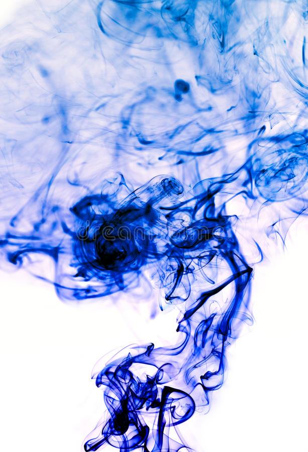 Blue smoke abstract background. Abstract with blue smoke on a white background stock photography