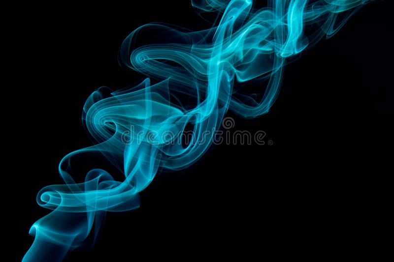 Blue Smoke abstract. With black background stock photo