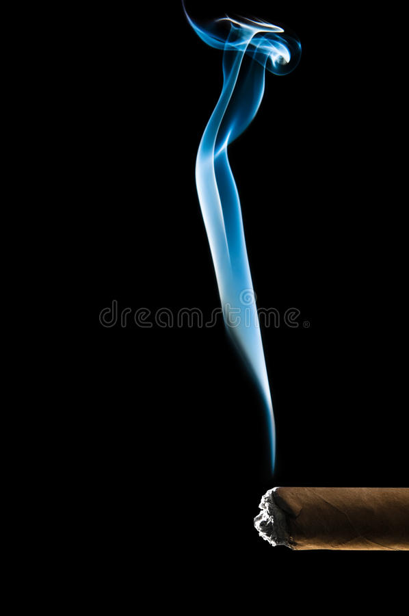 Blue smoke from cigar royalty free stock images