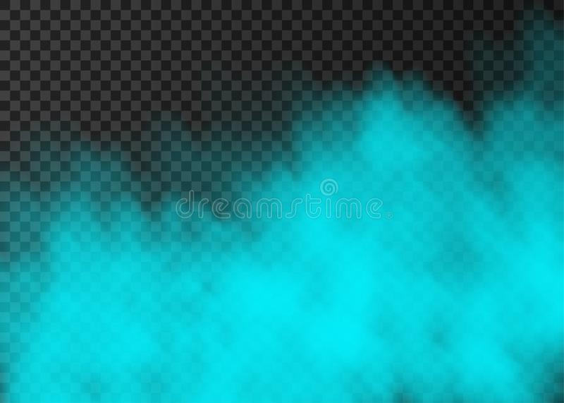 Blue smoke  or fog isolated on transparent background. Blue smoke  isolated on transparent background.  Steam special effect.  Realistic  colorful vector fire vector illustration