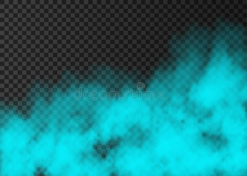 Blue smoke  or fog  on transparent background. Blue smoke   on transparent background.  Steam special effect.  Realistic  colorful vector fire fog  or mist vector illustration