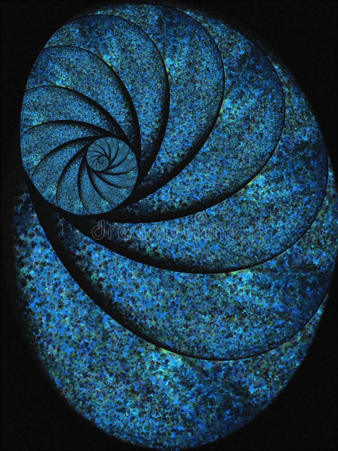 Blue Snail Shell Fossil Spiral stock illustration