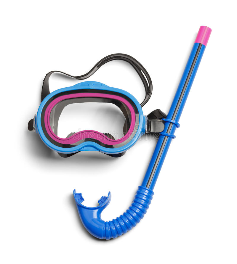 Blue Snorkel. Diving Snorkel and Mask Isolated on White Background stock photos
