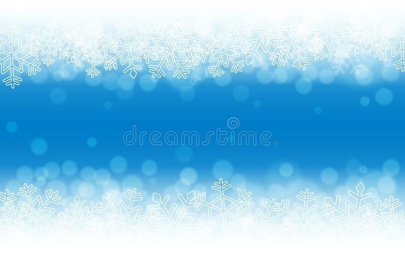 Blue snow background. Snowflakes with particles and bokeh. Holiday winter theme. Blurred backdrop. Christmas template royalty free illustration
