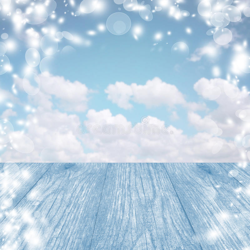 Blue snow background with table. A bright winter sky. Christmas. royalty free stock photos