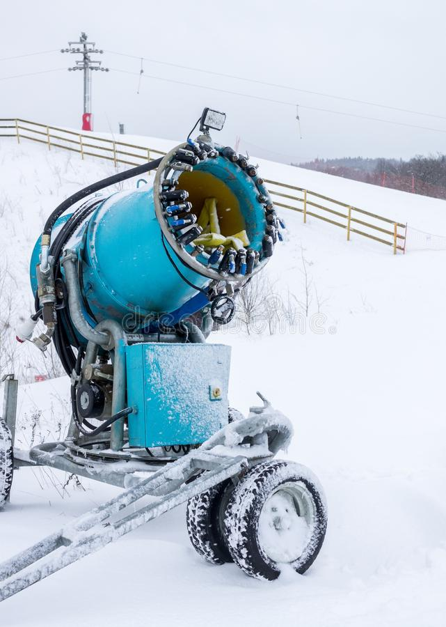 Blue snow cannon stock image