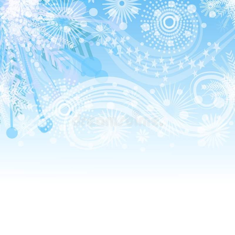 Blue Snowflake Background. A light background pattern featuring a collage of various snowflakes fading into the background vector illustration