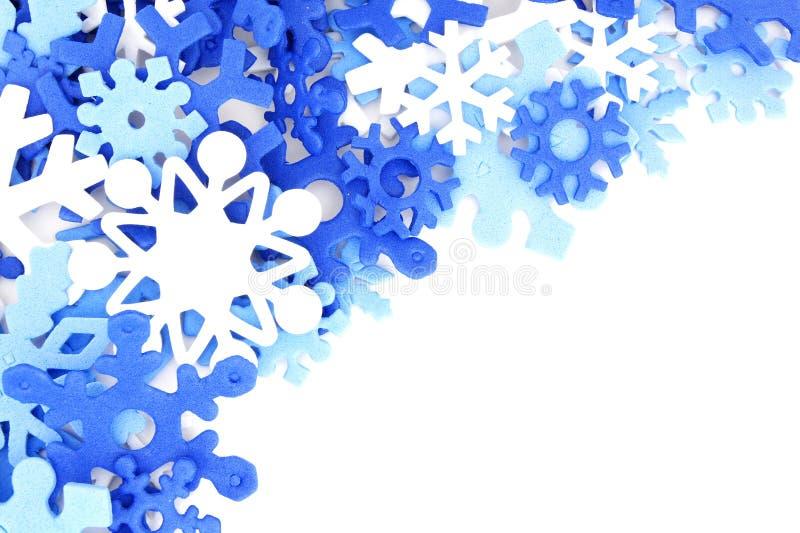 Blue snowflake border royalty free stock photo