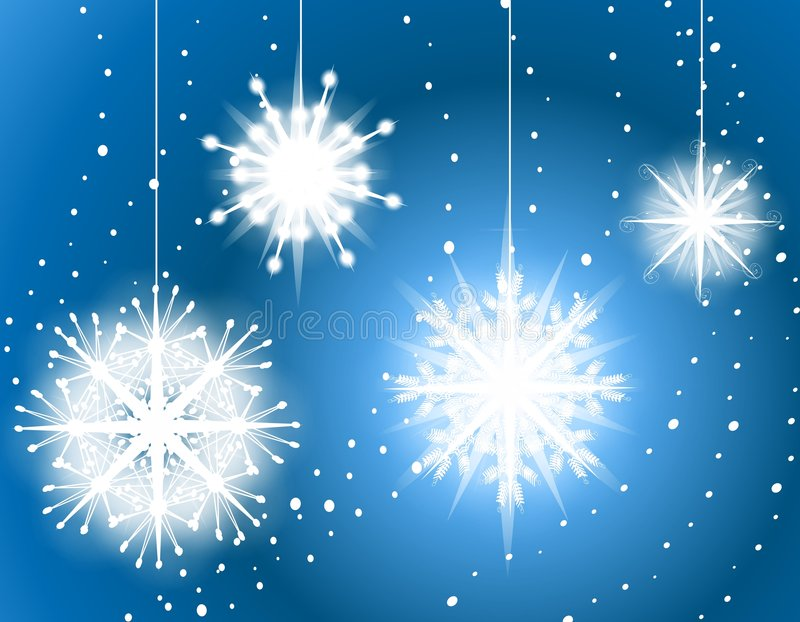 Blue Snowflake Ornaments Background 2. A background illustration featuring hanging snowflake ornaments against a blue gradient soft background vector illustration