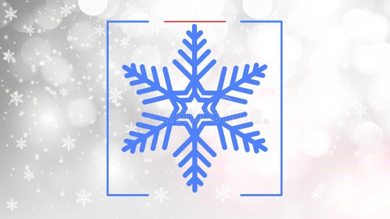 Blue snowflake on silver bokeh background stock illustration