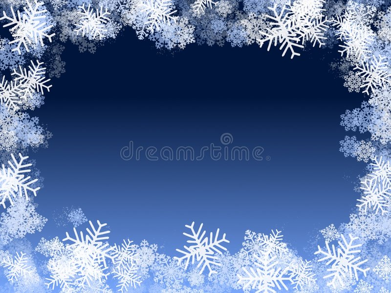 Blue snowflakes frame vector illustration